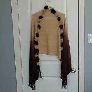 Women's Shawl/Scarf/Wrap with Fringe and Faux Fur